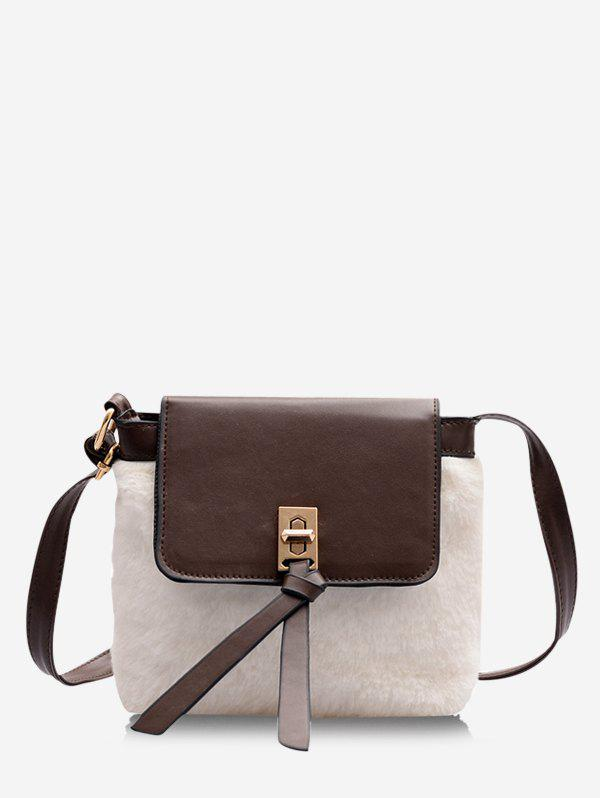 Faux Fur Patchwork Cover Crossbody Bag - MILK WHITE