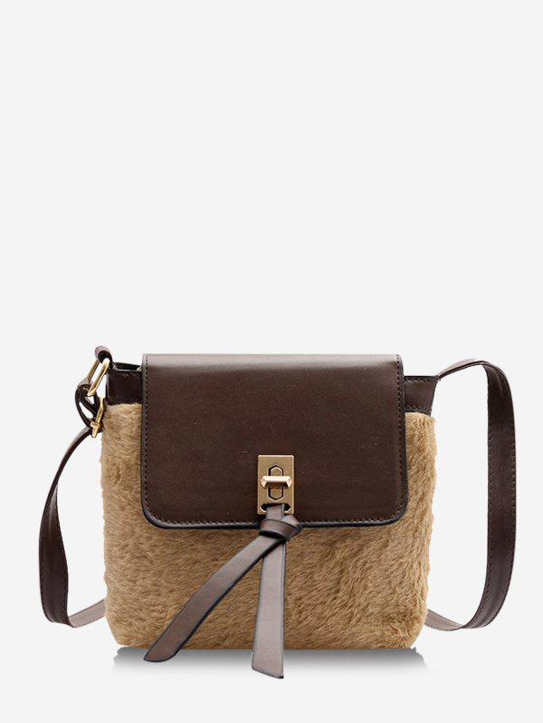Faux Fur Patchwork Cover Crossbody Bag - BROWN BEAR