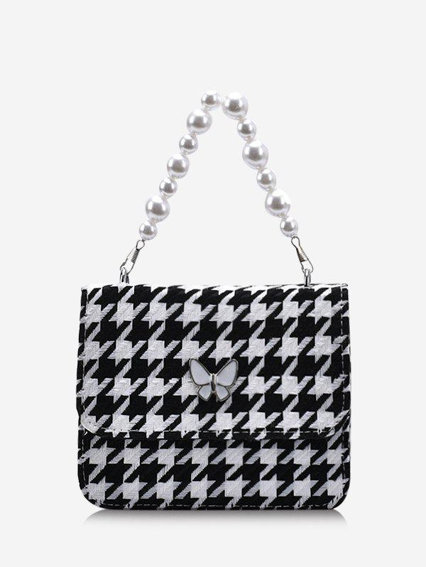 Houndstooth Butterfly Pattern Faux Pearl Cover Crossbody Bag - BLACK