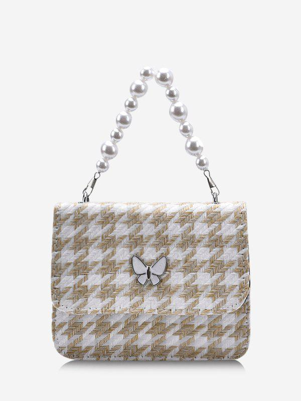 Houndstooth Butterfly Pattern Faux Pearl Cover Crossbody Bag - LIGHT COFFEE