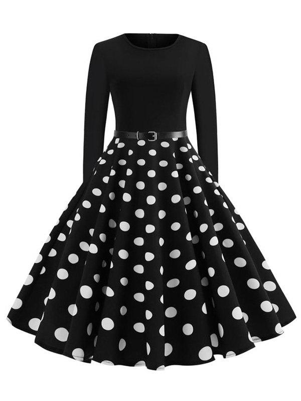 Long Sleeve Buckle Belted Polka Dot Dress - BLACK S