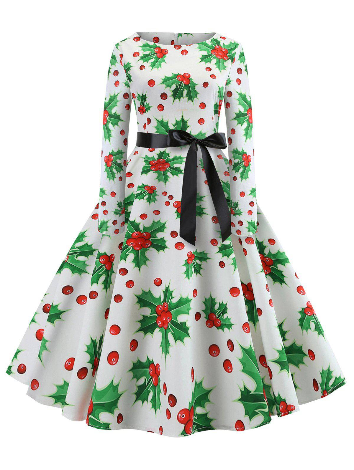 Christmas Berry Print A Line Belted Retro Dress - WHITE S