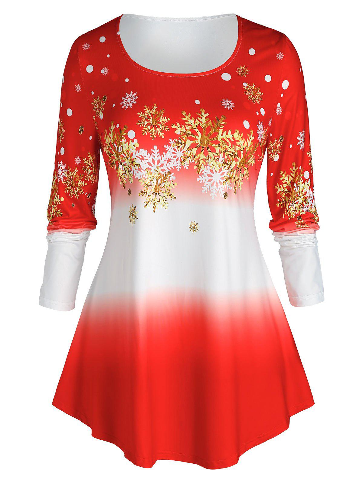 Plus Size Ombre Color Snowflake Print Christmas Tee - RED 5X