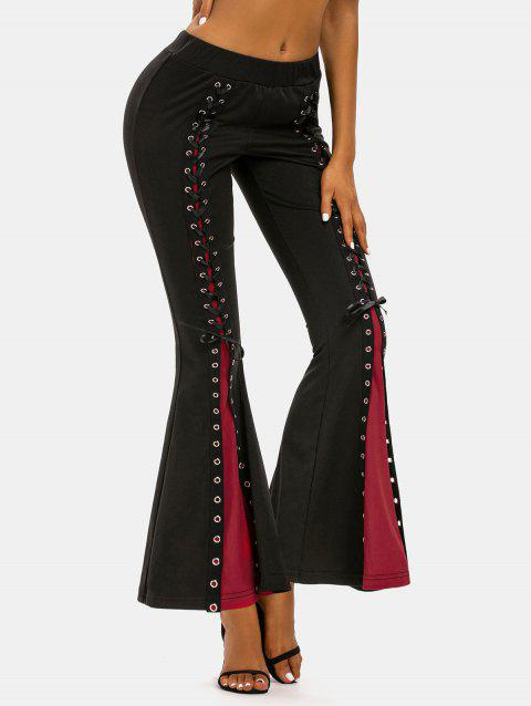 Two Tone Lace Up Flared Pants