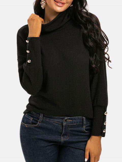 Cowl Neck Ribbed Metallic Buttons Knitwear