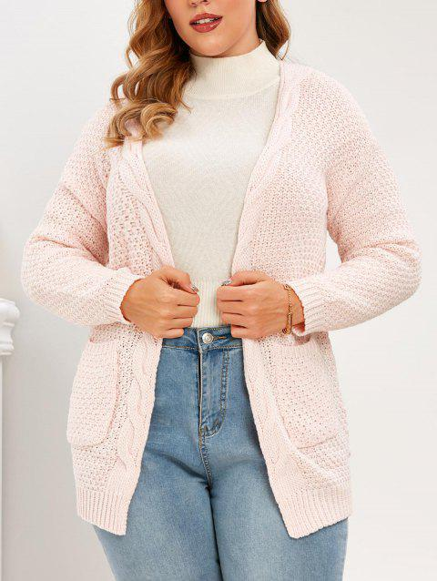 Plus Size Open Front Pockets Cardigan