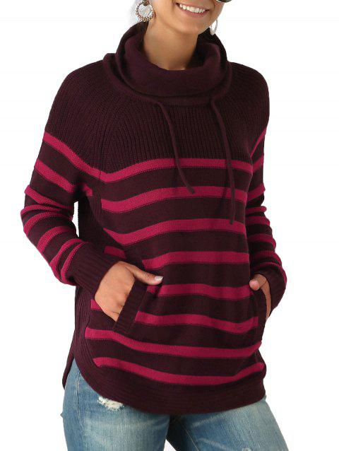 Turtleneck Striped Raglan Sleeve Pocket Sweater
