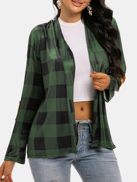 Plaid Elbow Patched Open Front Cardigan