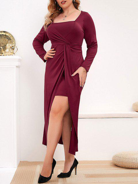 Plus Size Front Twist Midi Tulip Dress