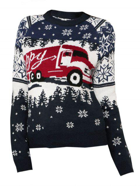 Christmas Snowflake Car Raglan Sleeve Sweater