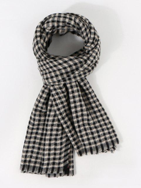 Checkered Pattern Long Winter Scarf