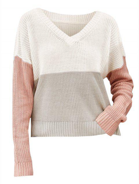 Drop Shoulder Three Tone V Neck Sweater