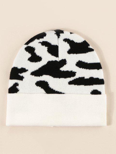 Colorblock Cow Print Knitted Hat