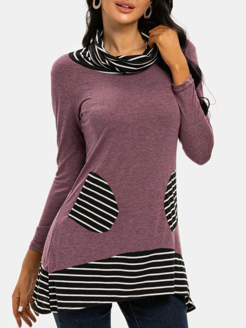 Striped Cowl Neck Dual Pocket Long Sleeve Tee