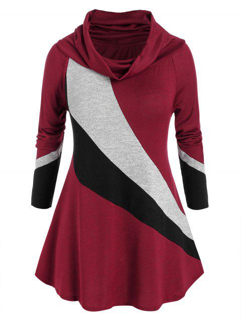 Plus Size Cowl Neck Colorblock Long Sleeve Sweater