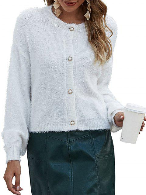Drop Shoulder Button Up Eyelash Cardigan