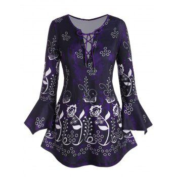 Plus Size Lace Up Floral Print Bell Sleeve T Shirt