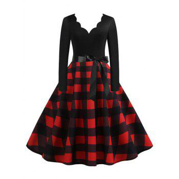Scalloped Plaid Fit and Flare Belted Vintage Dress