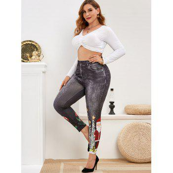 Plus Size Christmas Printed Fitted Jeggings