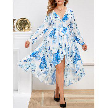 Floral Long Sleeve Wrap Plus Size Maxi Dress