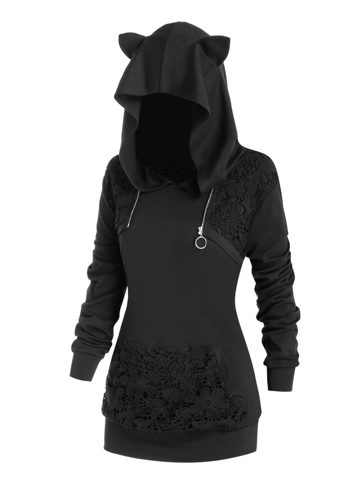Plus Size Cat Ear Crochet Insert Zip Ring Hoodie - BLACK 3X