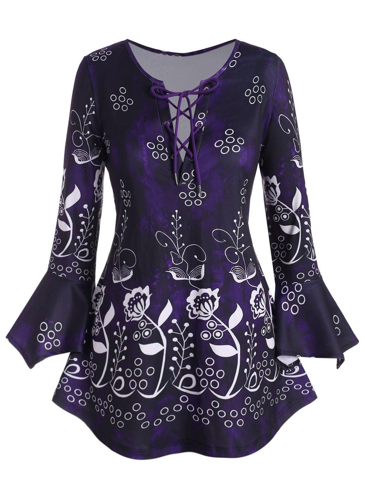 Plus Size Lace Up Floral Print Bell Sleeve T Shirt - PURPLE 5X