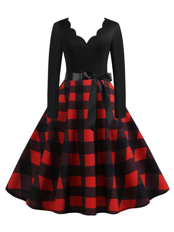 Scalloped Plaid Fit and Flare Belted Vintage Dress - DEEP RED XL