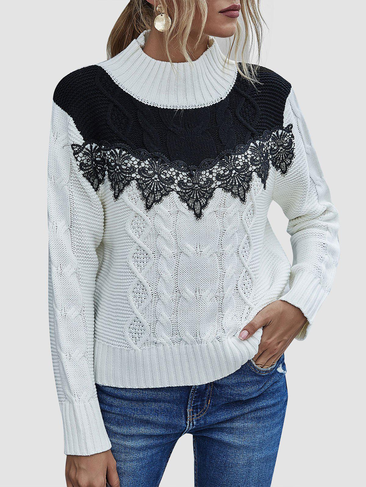 Cable Knit Applique Panel Two Tone Sweater - WHITE XL