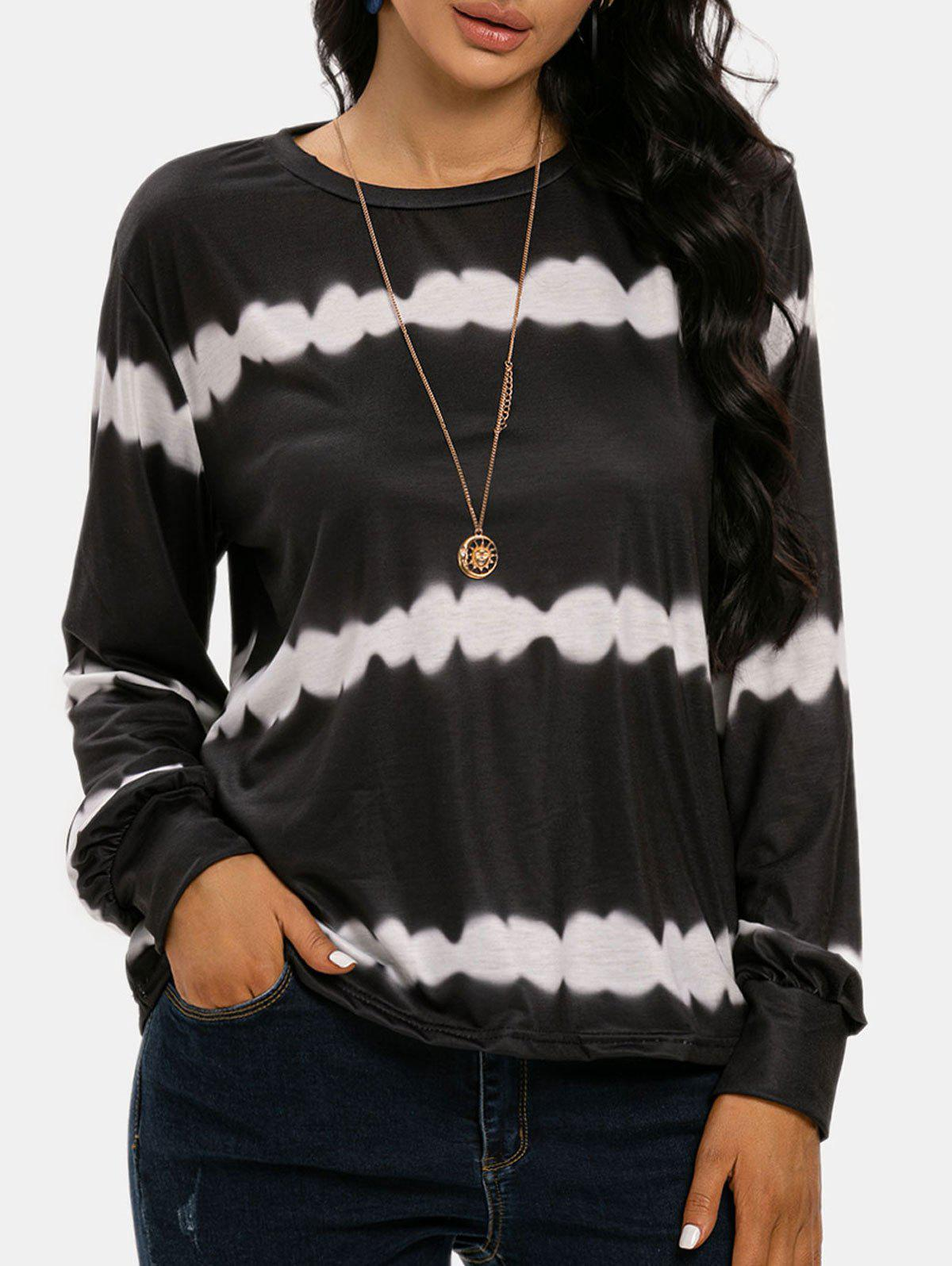 Long Sleeve Streak Dye Top - BLACK 3XL