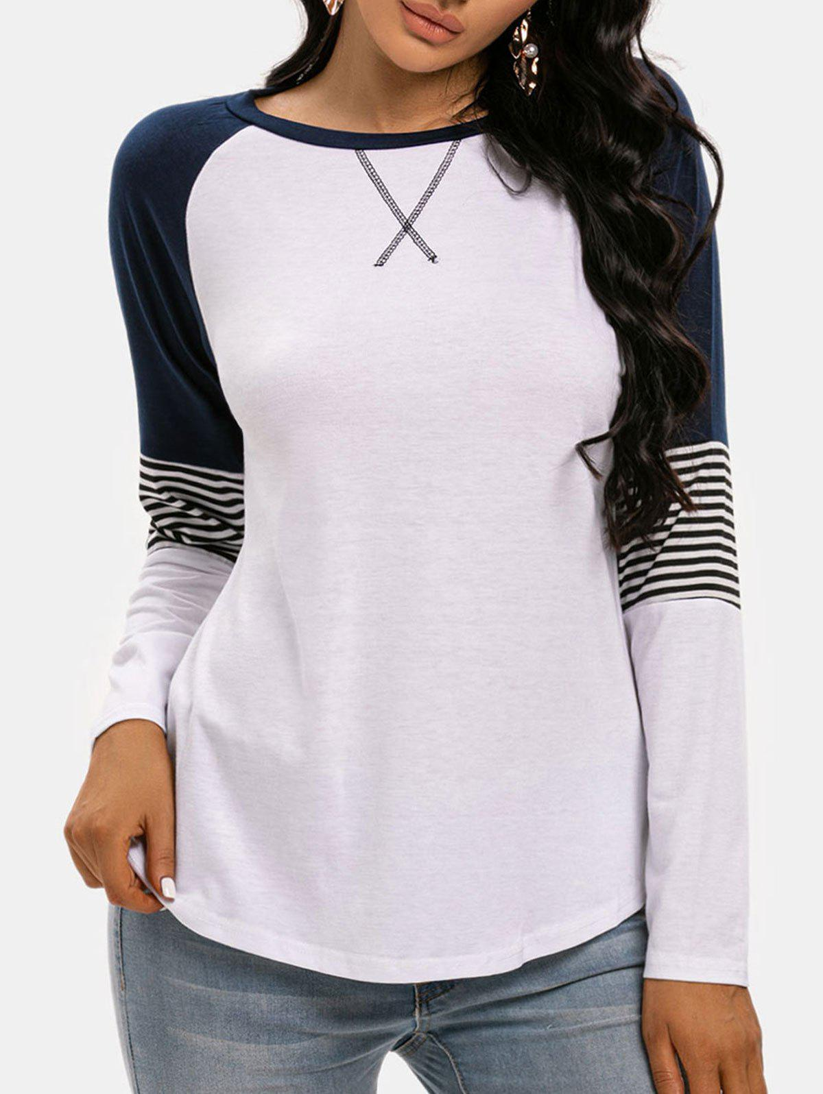 Raglan Sleeve Striped Colorblock T Shirt - WHITE S