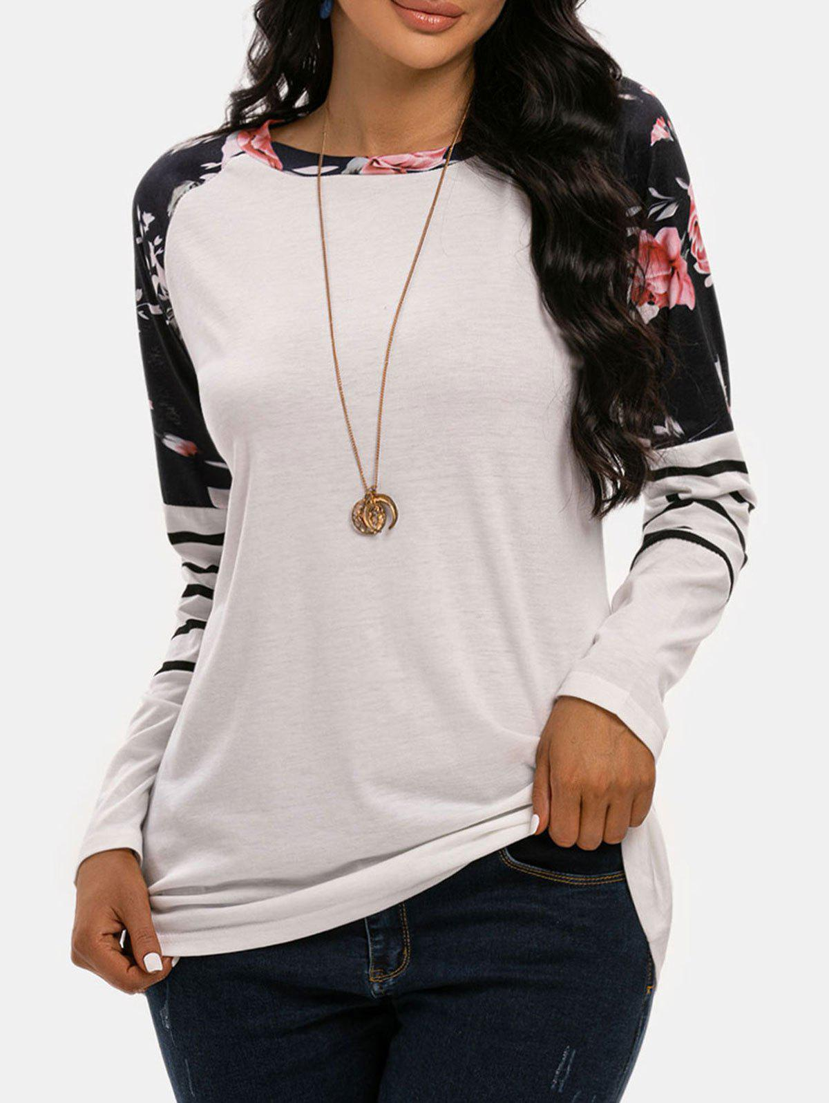 Striped Flower Raglan Sleeve Tunic T-shirt - WHITE S