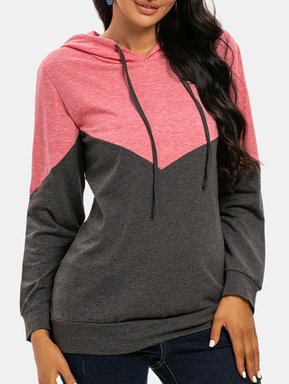 Two Tone Drawstring Pullover Hoodie - LIGHT PINK L