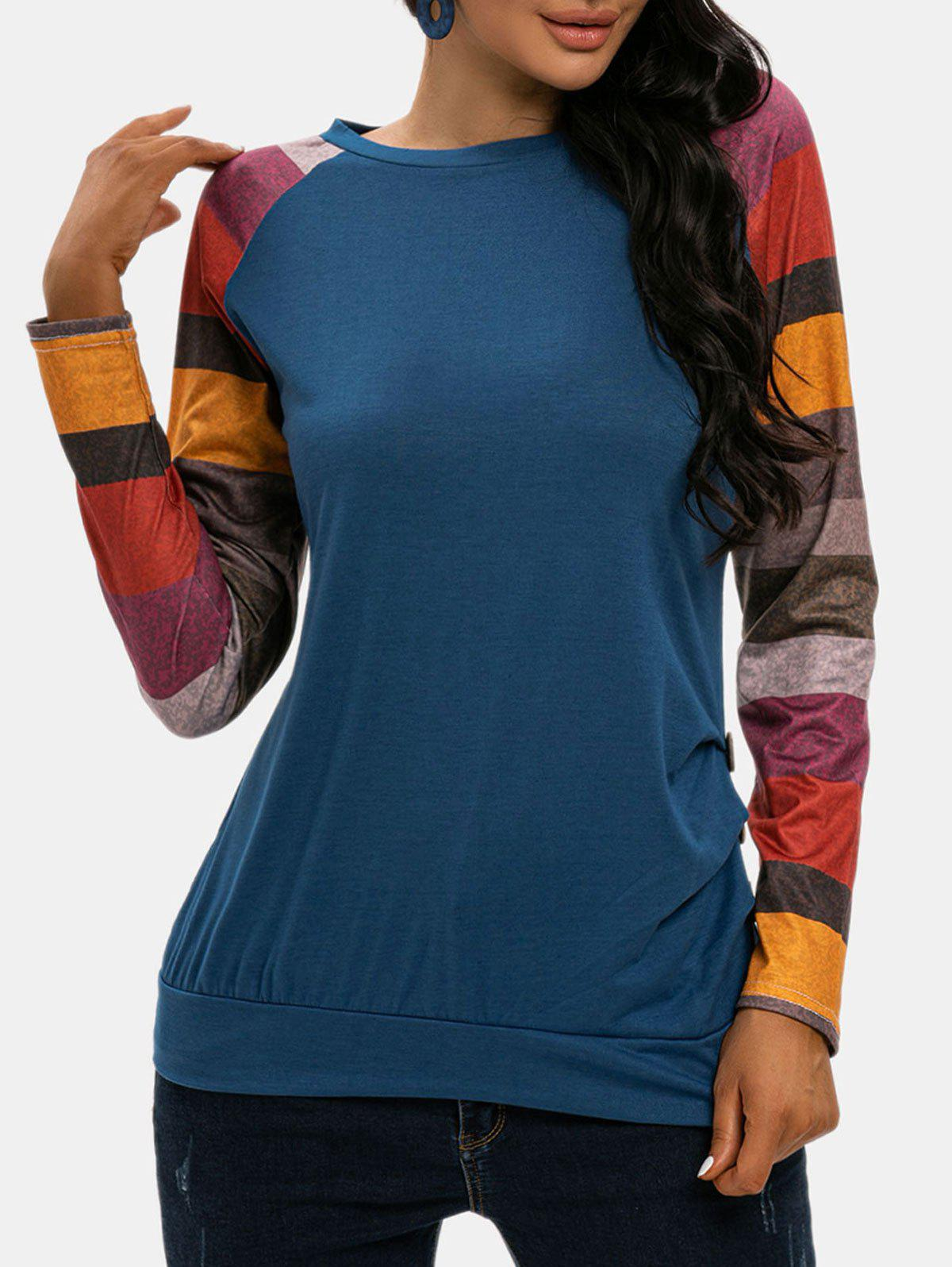 Colorblock Raglan Sleeves Ruched Blouson Top - BLUE XL