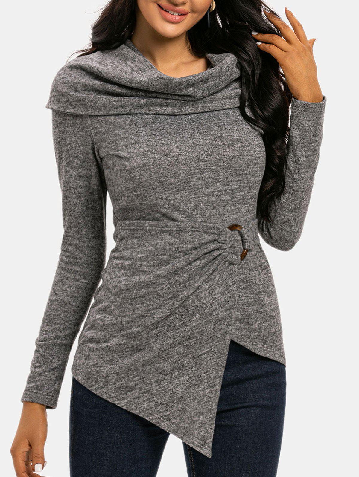 Foldover Cowl Neck O Ring Draped Knitwear - GRAY M