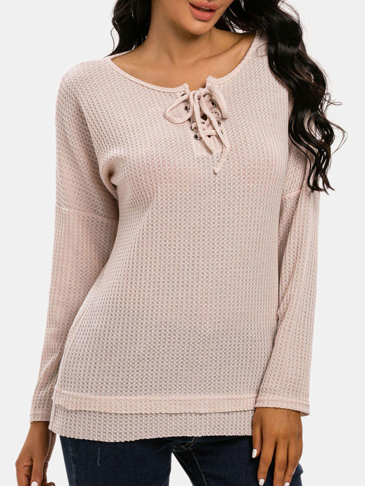 Lace-up Raw Hem Honeycomb Knitwear - LIGHT COFFEE XXL