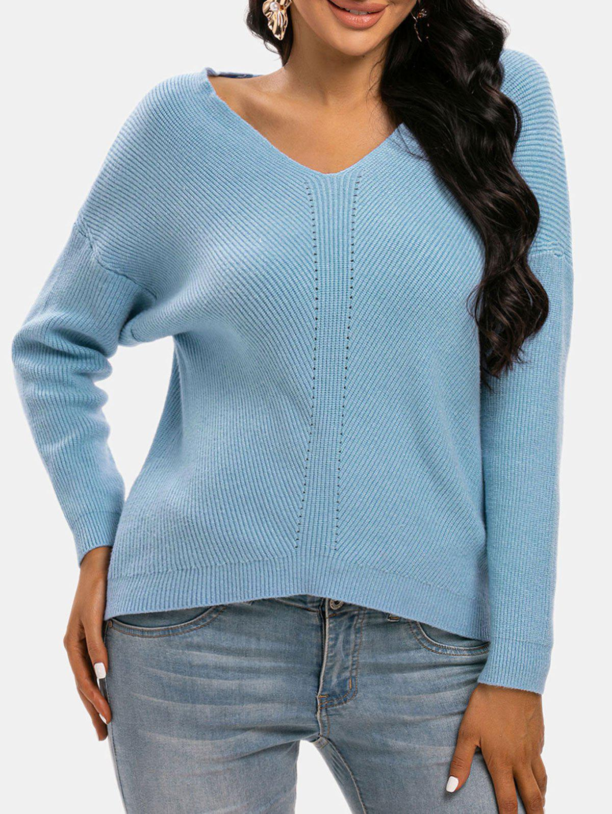 Drop Shoulder Pointelle Textured Knit Sweater - BLUE ONE SIZE