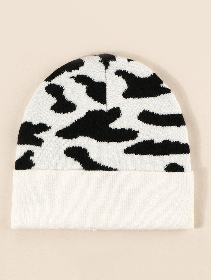 Colorblock Cow Print Knitted Hat - MILK WHITE
