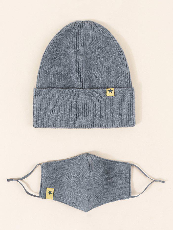 Buttons Label Mask Knitted Hat Set - LIGHT SLATE GRAY
