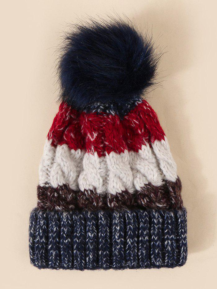 Striped Colorblock Knitted Bubble Hat - multicolor A