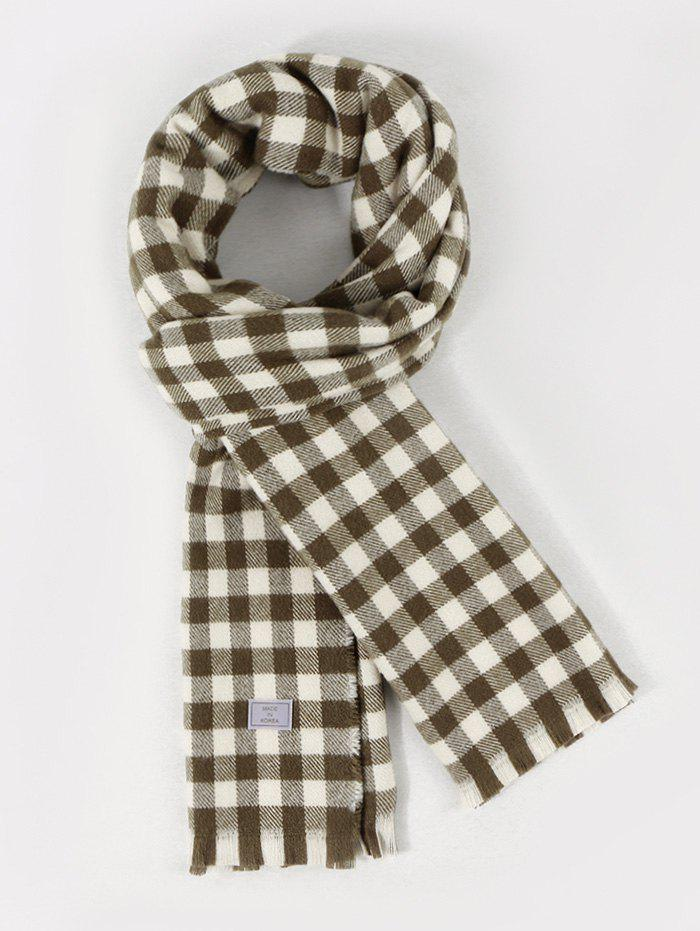 Fringe Long Checkered Pattern Scarf - CAMOUFLAGE GREEN