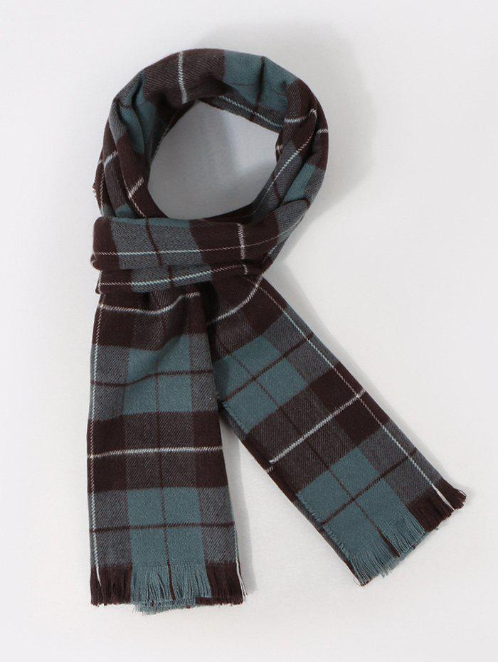 Checkered Pattern Long Shawl Scarf - PEACOCK BLUE