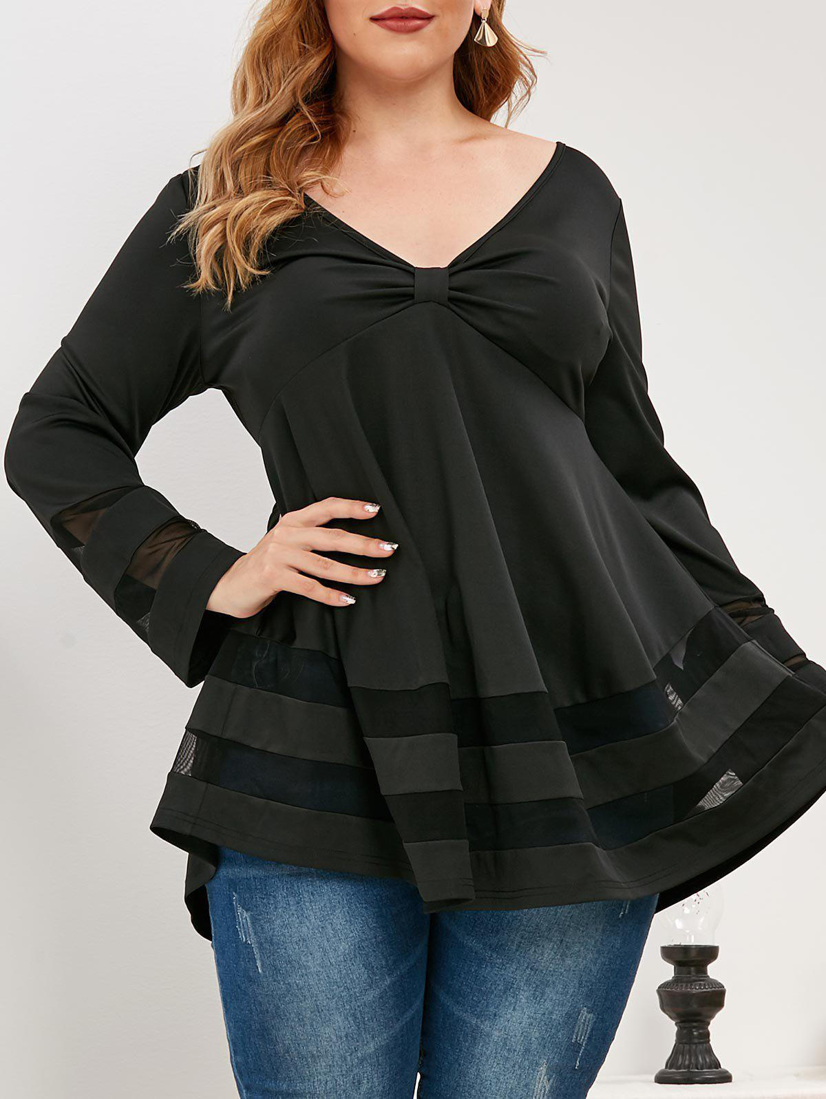 Plus Size Knotted Plunging Mesh Panel T Shirt - BLACK L