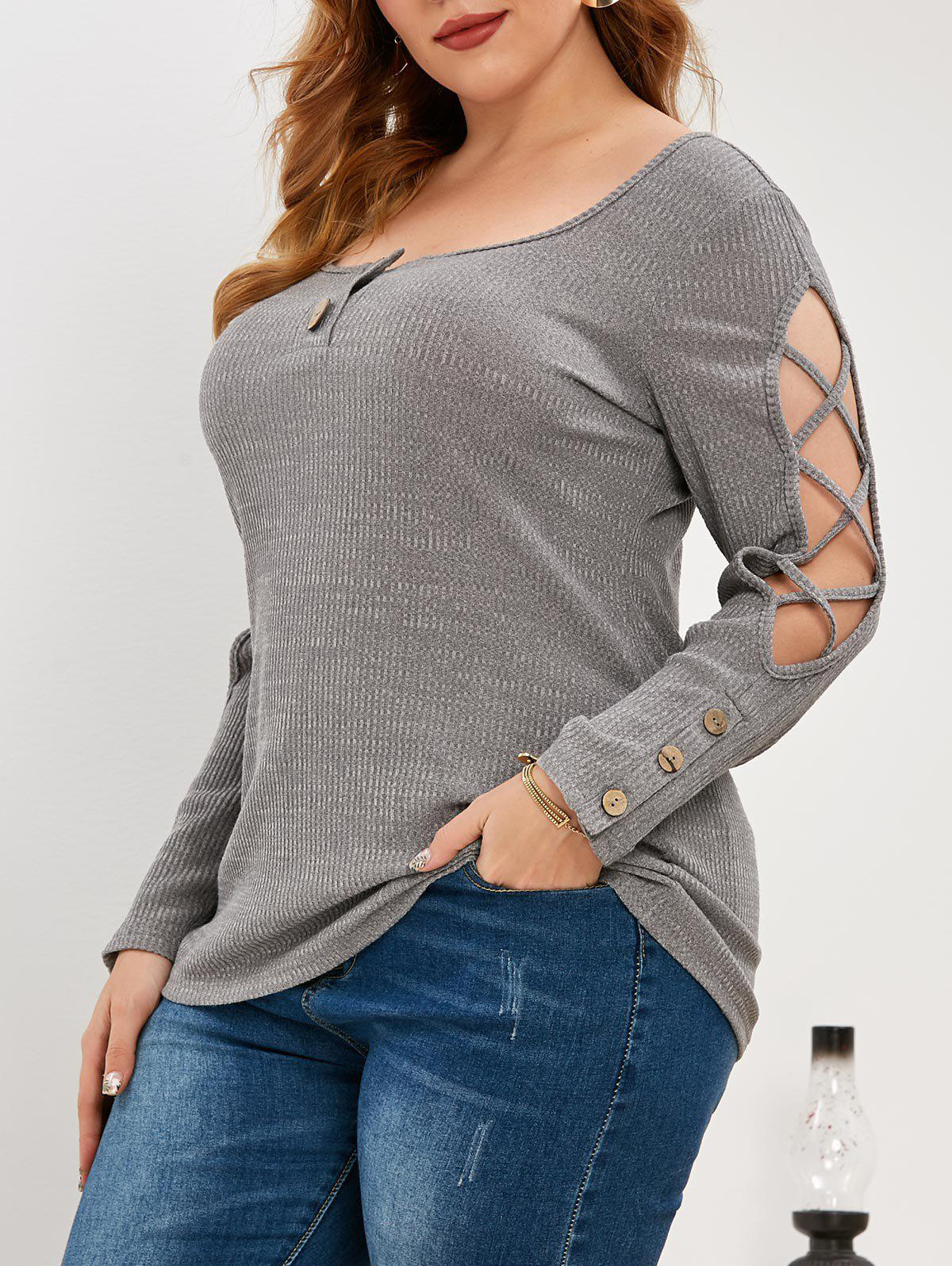 Plus Size Knitted Criss Cross Henley Top - DARK GRAY 2X
