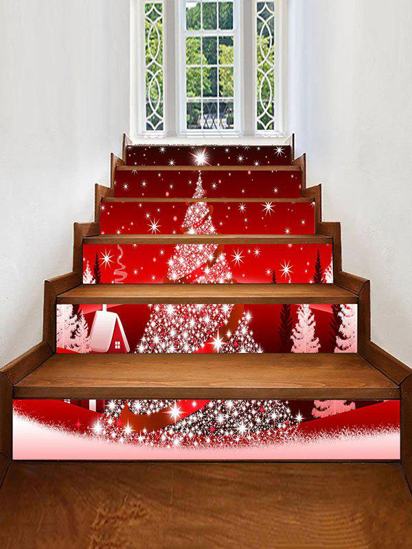 Christmas Tree Print Decorative Stair Stickers - multicolor 6PCS X 39 X 7 INCH( NO FRAME )