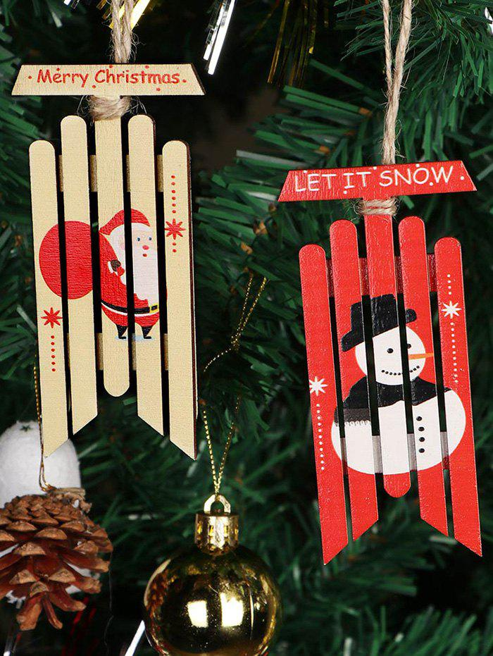 6 Pcs Santa Claus Snowman Pattern Wooden Christmas Tree Hanging Decoration - RED