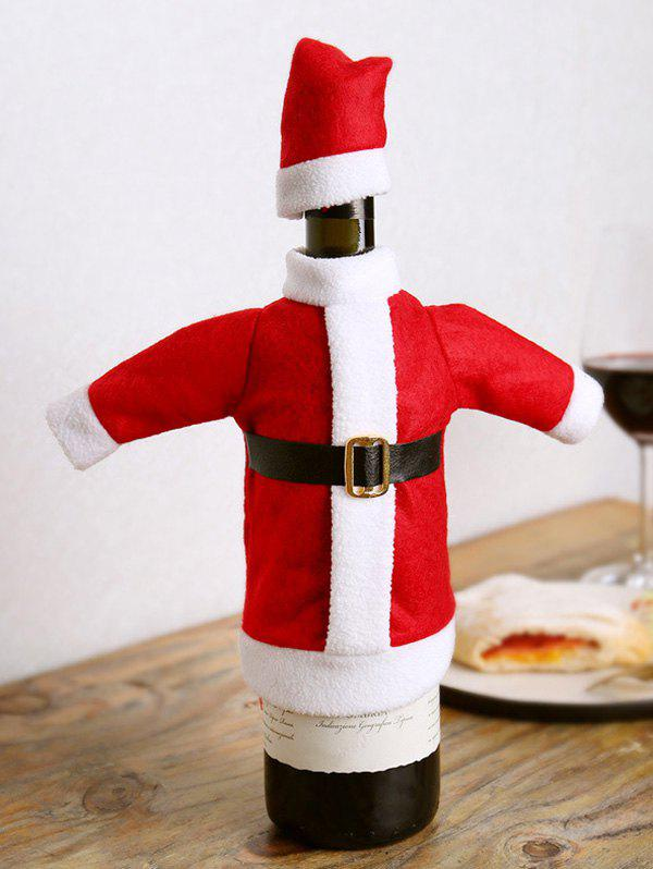 Christmas Santa Claus Costume Wine Bottle Cover - RED