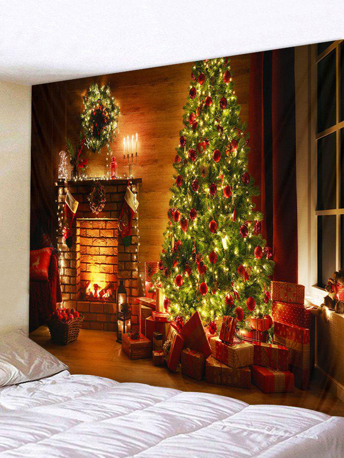 Christmas Tree Gifts 3D Print Wall Tapestry - TIGER ORANGE W59 X L51 INCH