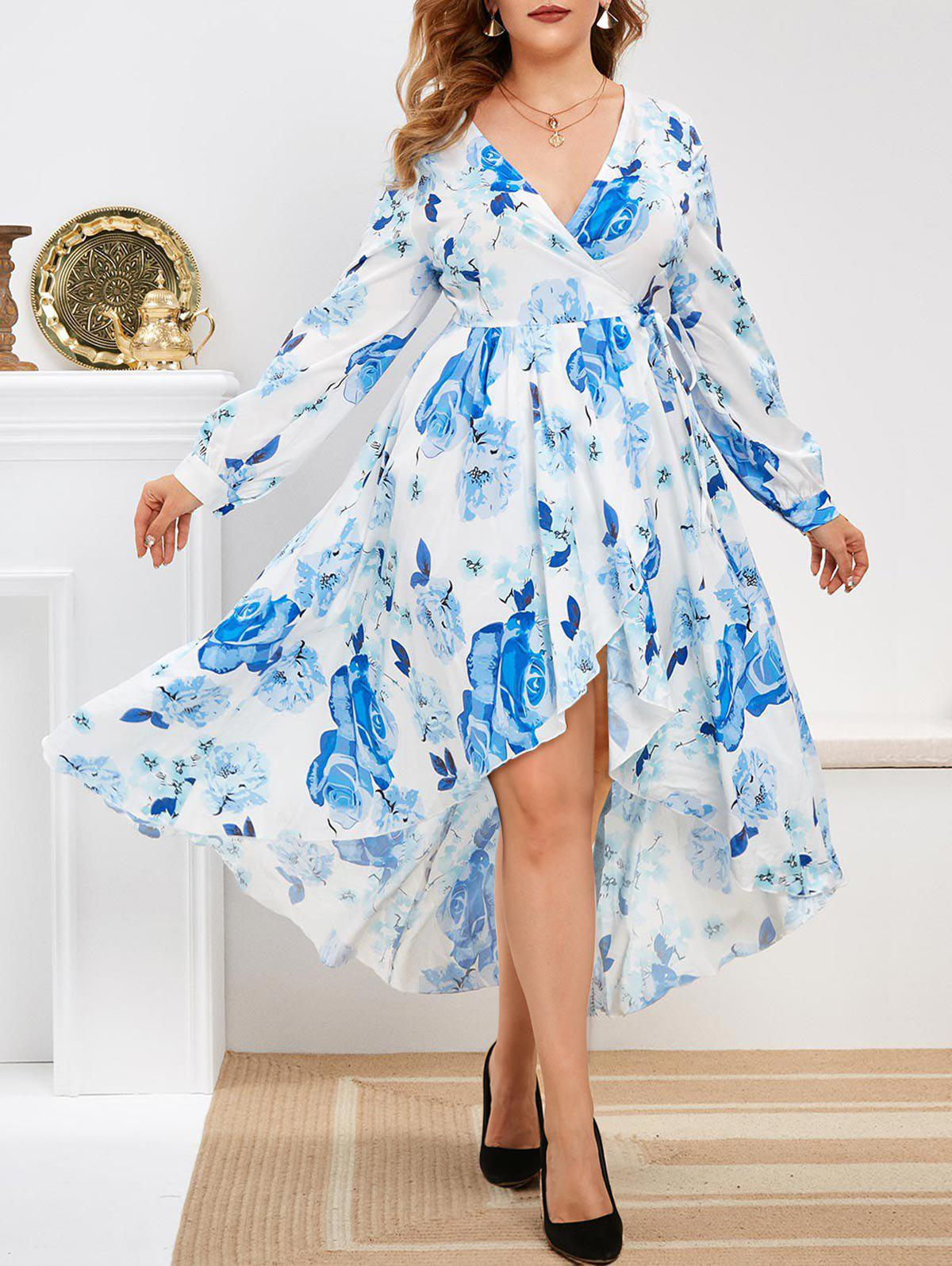 Floral Long Sleeve Wrap Plus Size Maxi Dress - BLUE 5X