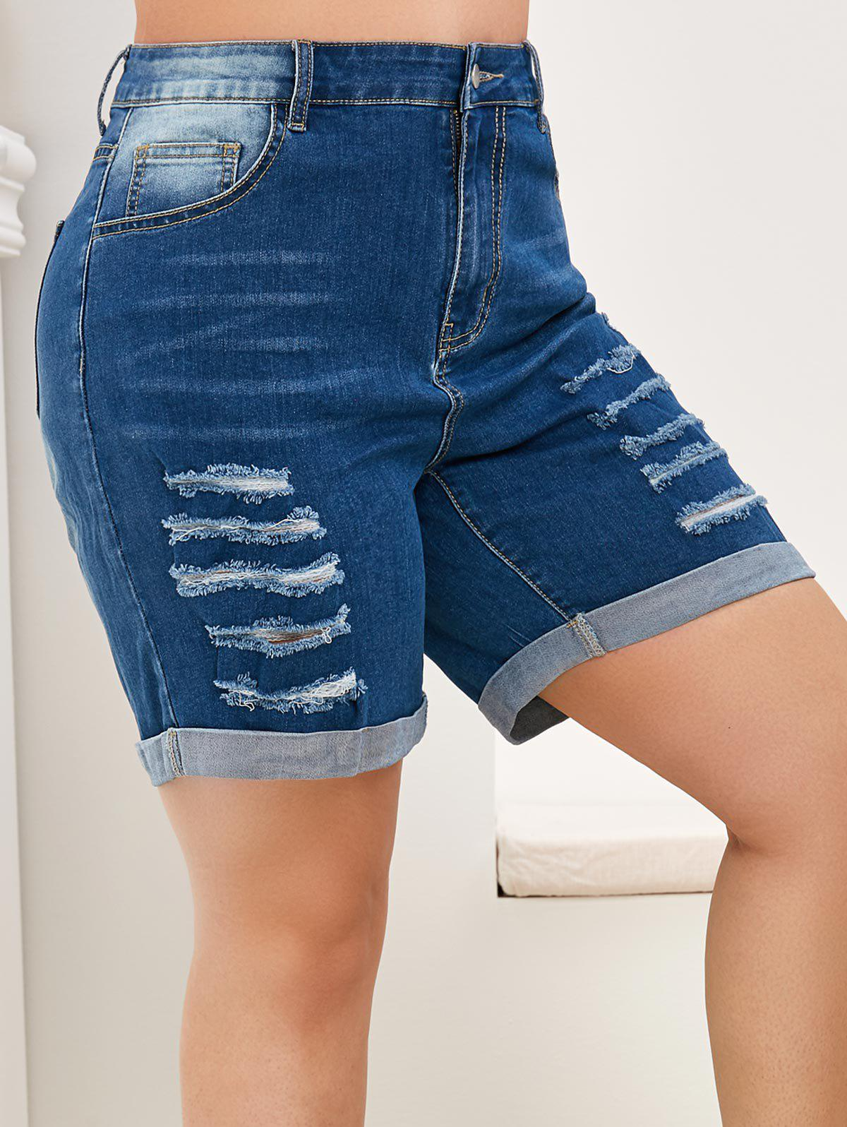 Plus Size Distressed Rolled High Rise Jean Shorts - BLUE 5X