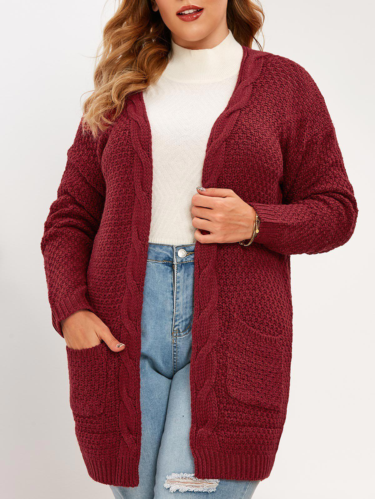Plus Size Open Front Pockets Cardigan - DEEP RED 3XL